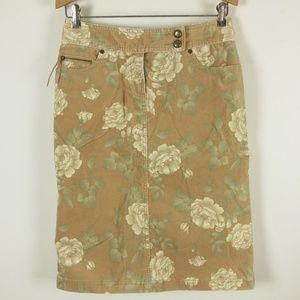 Liz Claiborne Floral Tan Corduroy Straight Skirt
